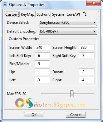 KEmulator-Options and Properties