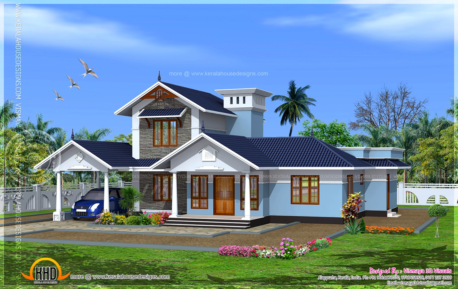 Kerala model villa with open courtyard indian house plans - Kerala exterior model homes ...