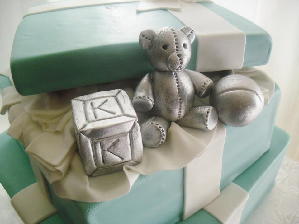 daily two tier tiffany co themed baby shower cake and cupcakes