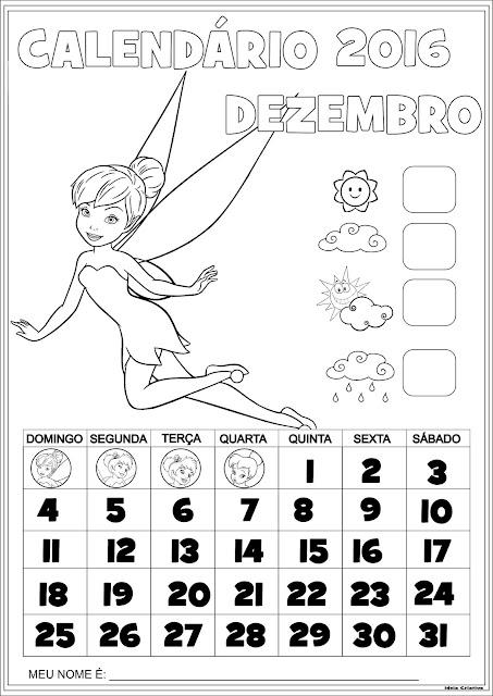 Calendários Peter Pan 2016 para Imprimir Com Numeração