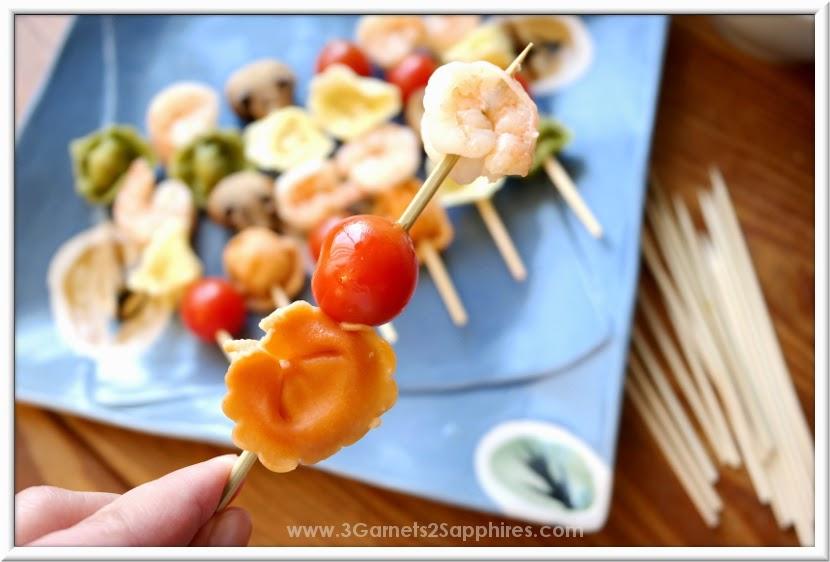 Shrimp Tortellini Mushroom Tomato Kabobs #EasyPrepMeals #shop #cbias