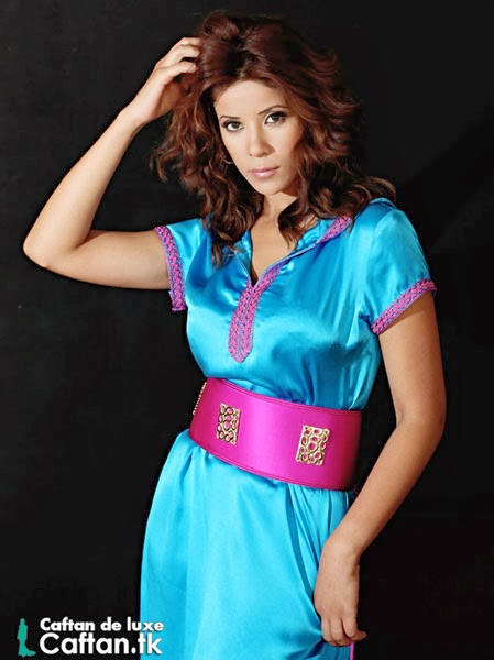 Robe marocaine turquoise très chic 2014