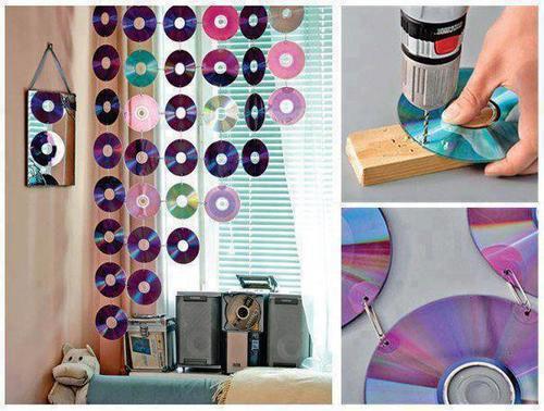 Reciclar CDs y DVD : cortina para habitación
