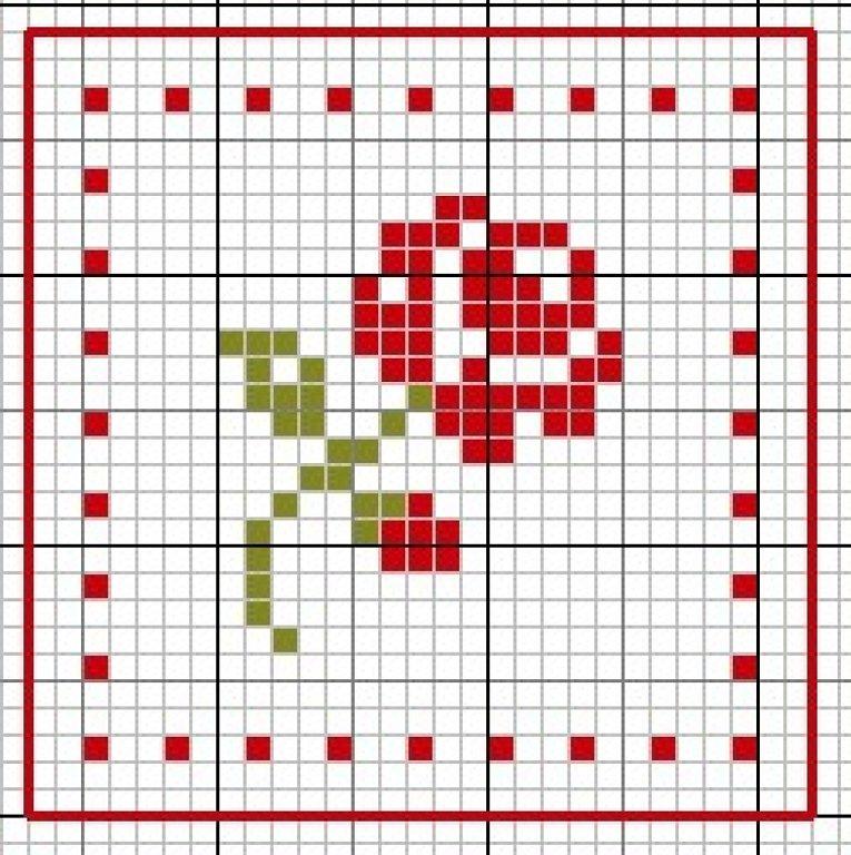 Вышивка роза крестиком лёгкая 92