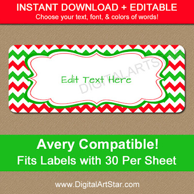 editable digital christmas return address labels