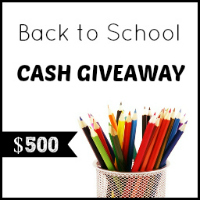 Enter to win the Back to School Cash Giveaway. $500 Cash. Ends 9/1.