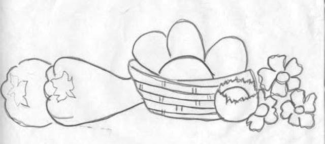 desenhos e riscos de cesta de verduras