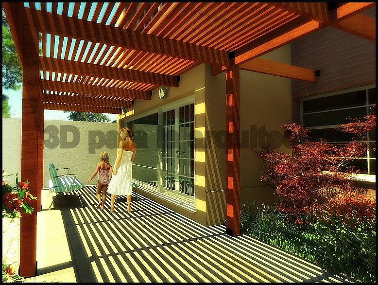 3d render para la arquitectura y el urbanismo pergolas for Modelos de patios y jardines