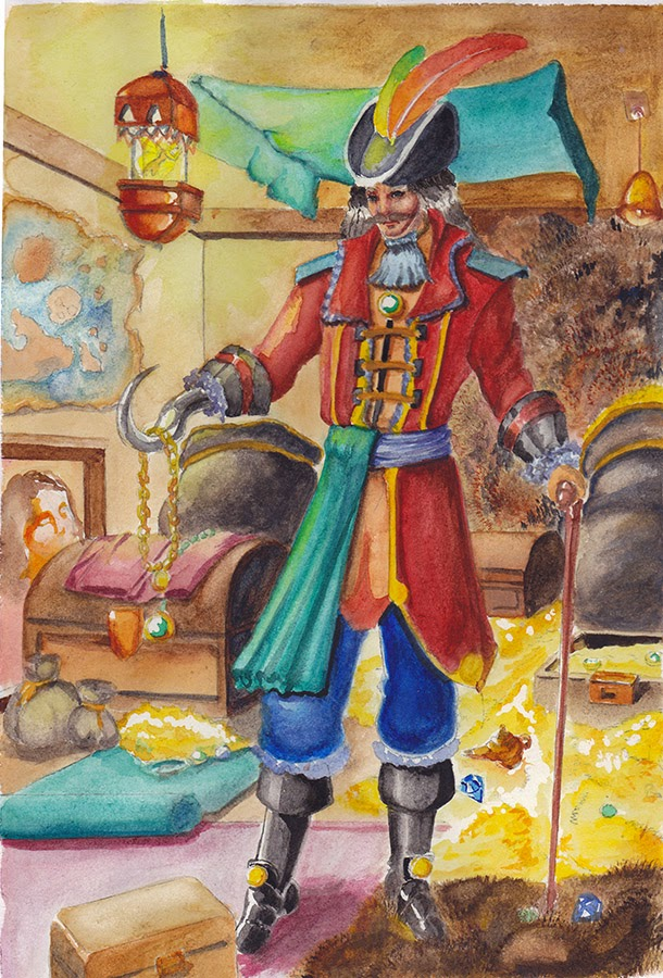 captain hook watercolours illustration