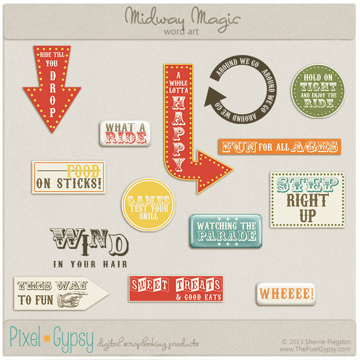 Midway Magic Carnival Fair Digital Scrapbooking Word Art