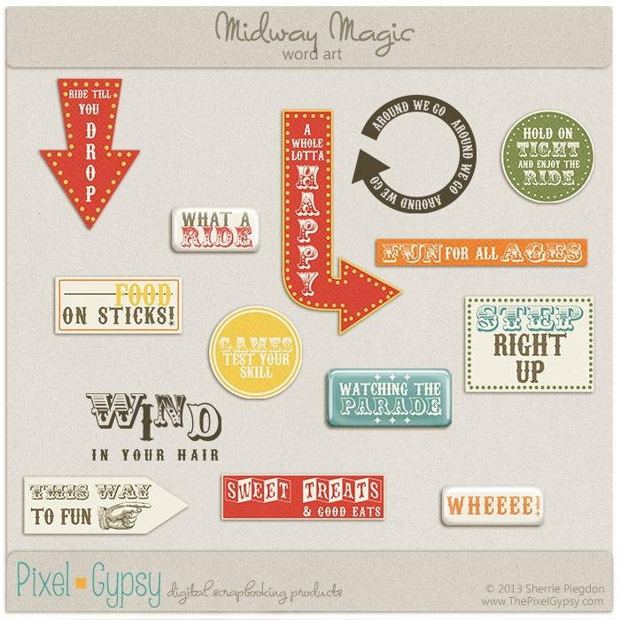 Midway Magic Carnival Fair Digital Scrapbooking Word Art