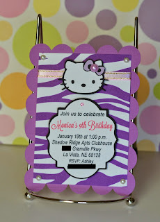 hello kitty purple zebra sadari birthday invitation theme