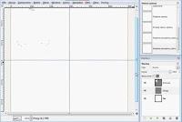 Dodanie centralnych prwadnic na warstwie Okręgi - zrzut ekranu Gimp