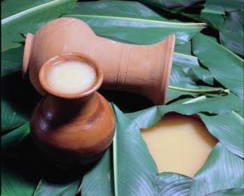 Dos vasijas de arcilla, una volcada y otra con bebida sobre hojas
