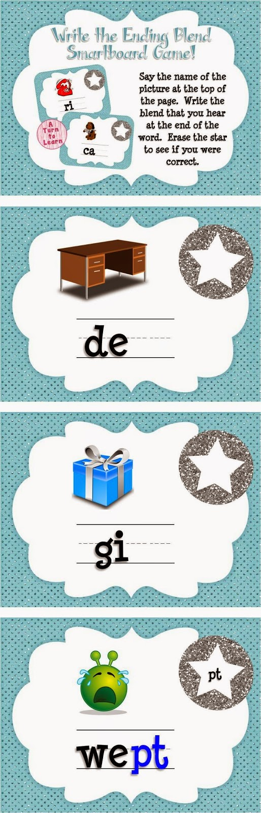 Ending Blends/CVCC Words Game for Smartboard or Promethean Board! And it's self checking!