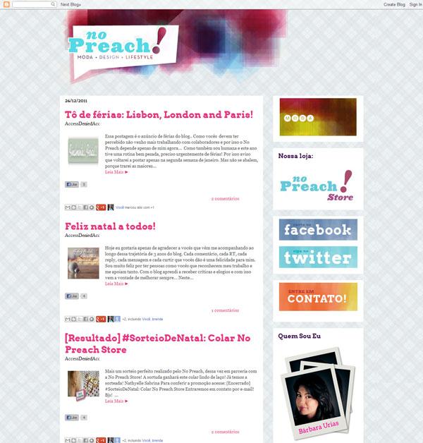 antigo Layout Blog No Preach - Identidade visual