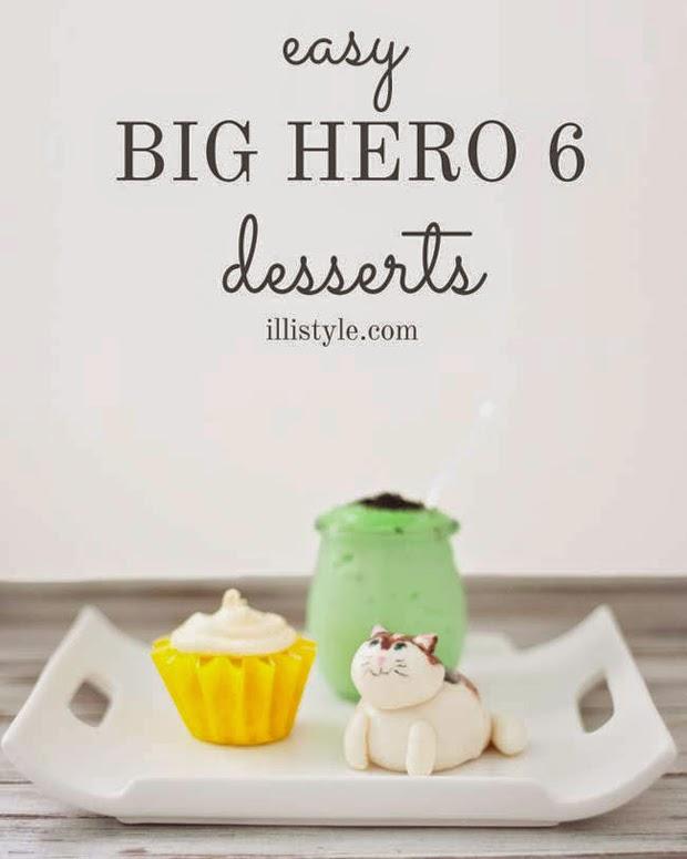 Big Hero 6 desserts, honey lemon cupcakes, wasabi pudding, mochi cat, mochi