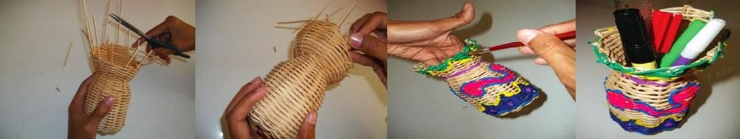 Kerajinan Tangan Cara Membuat Wadah Pulpen dari Rotan