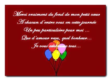 Poème remerciement d'anniversaire