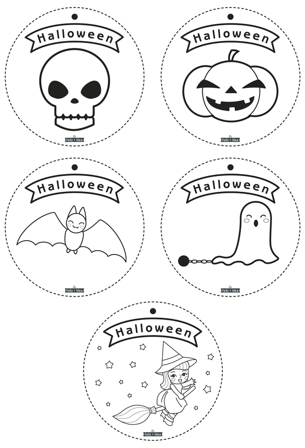 Free printable coloring Halloween garland - Guirnalda de Halloween para colorear imprimible gratuito