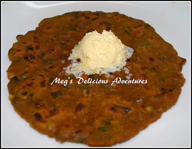 Spring Onion Thalipith (Multigrain pancake with green onions)