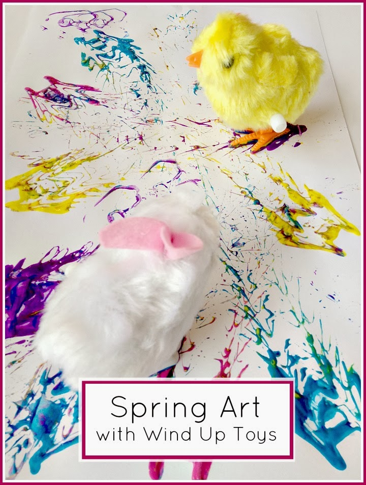 Spring Art with Wind Up Toys #kidmade #processart