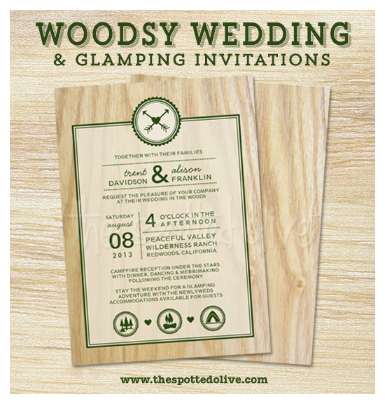 Woodsy Wedding & Glamping Invitations by The Spotted Olive