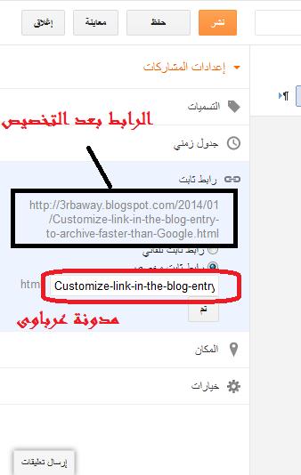 تخصيص رابط التدوينة لأرشفة أسرع من جوجل
