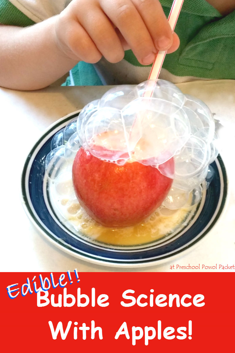 Edible Bubble Science With Apples!   Preschool Powol Packets