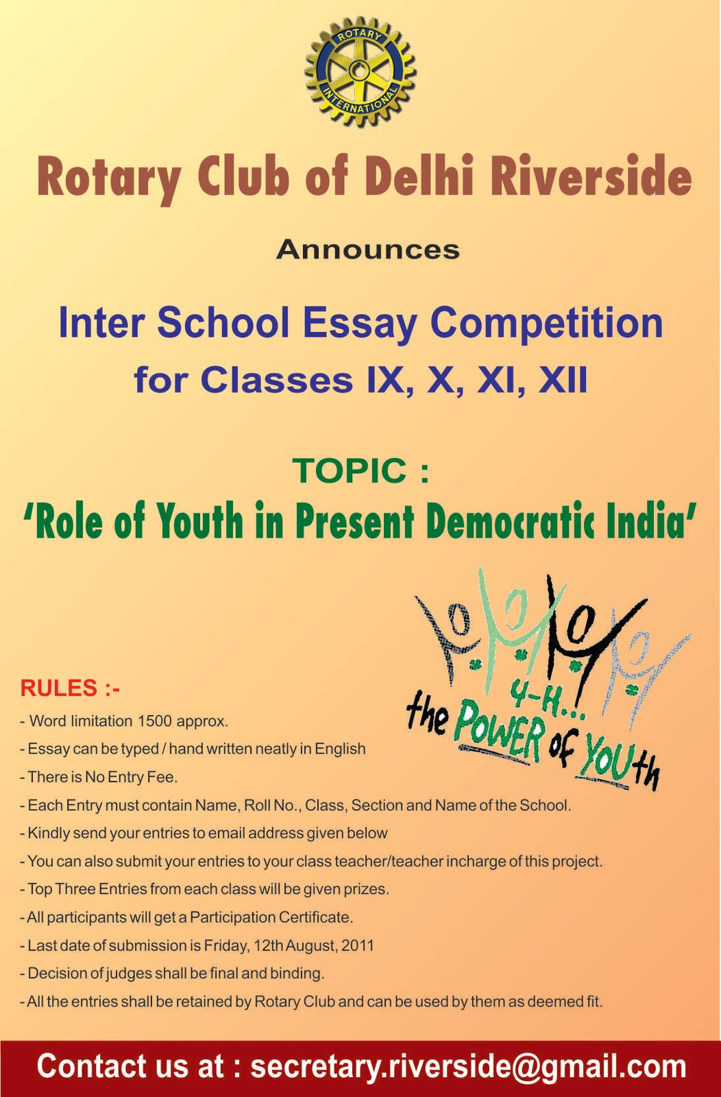 rotary club of delhi riverside new project launch inter  new project launch inter school essay writing competition