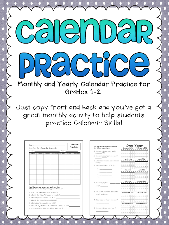 Calendar Worksheet Grade : The best of teacher entrepreneurs free math lesson