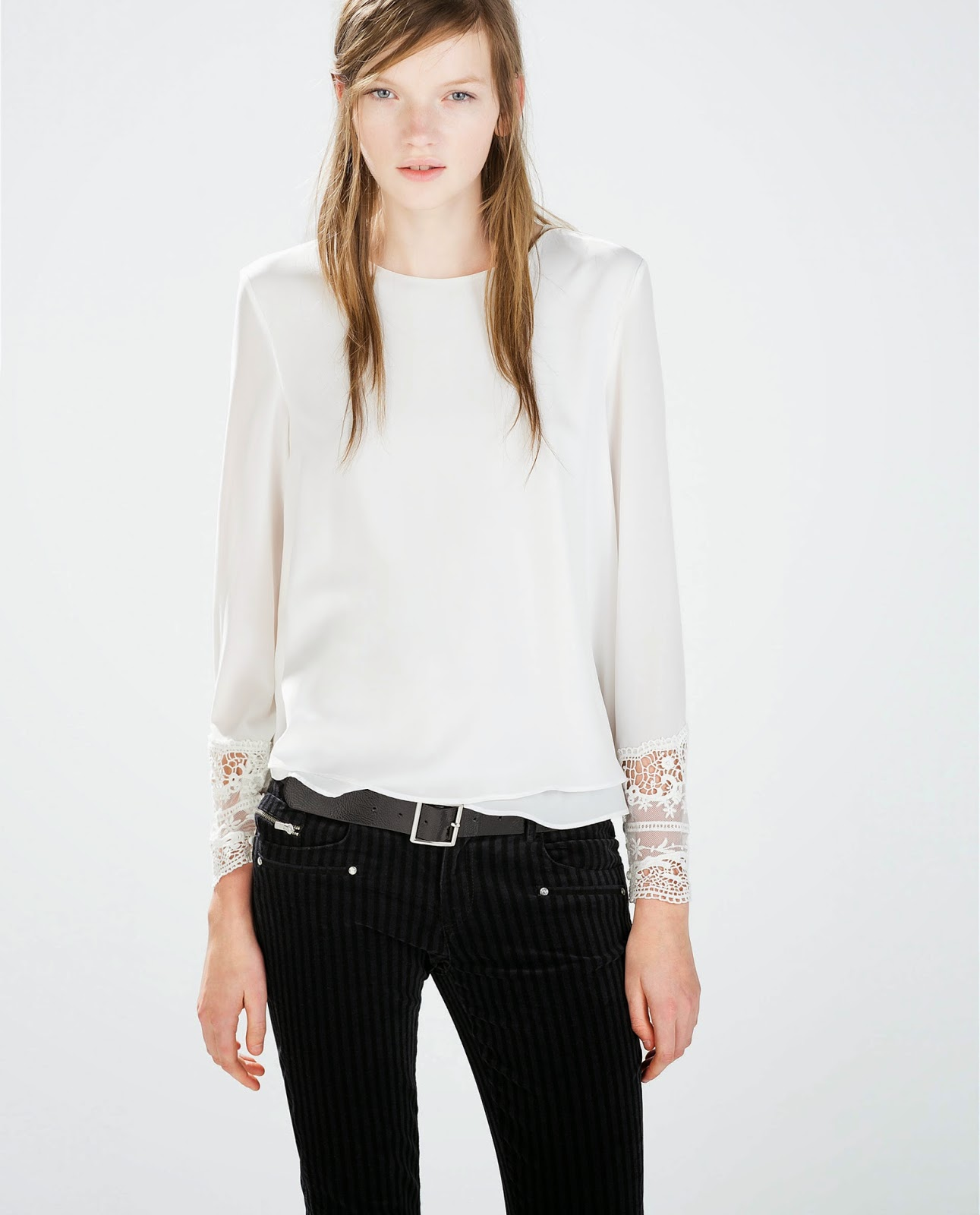 zara white lace blouse,