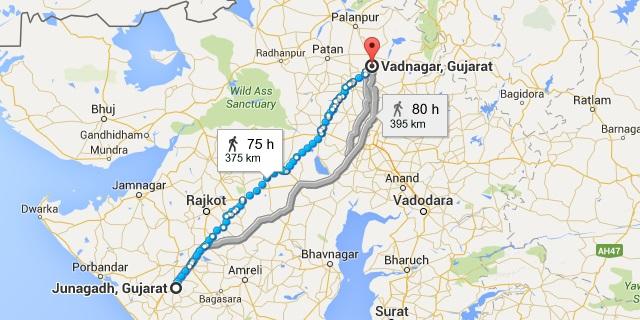 Migration of Brahmins as per Navalakhi Plates of Shiladitya I in 545 AD Map