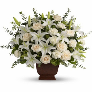 Send The Teleflora Loving Lilies and Roses Sympathy Flowers free of service fees