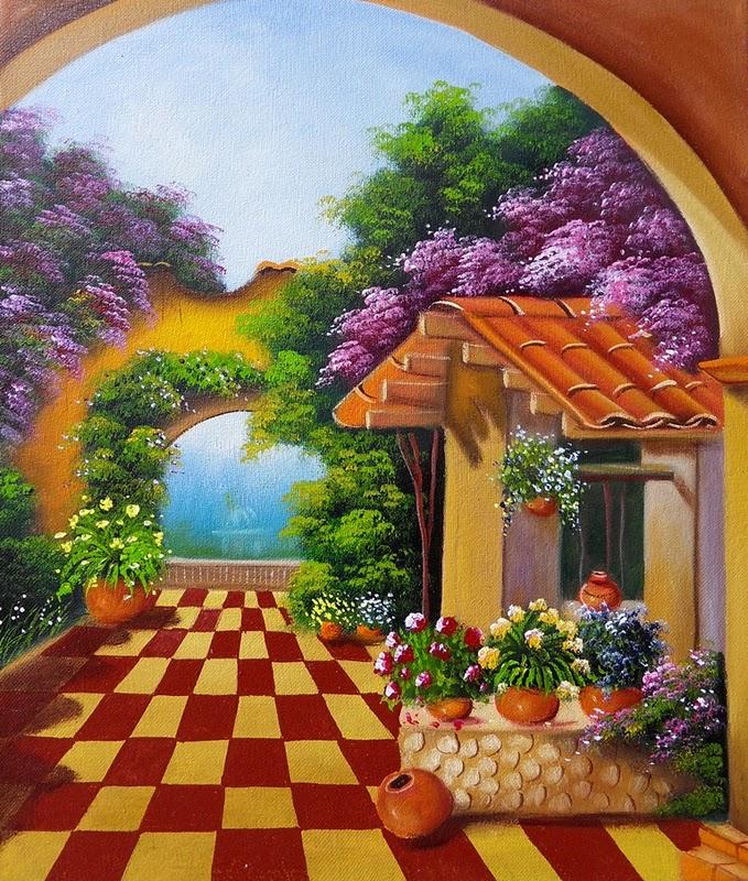 Pinturas cuadros lienzos el museo del paisaje al oleo - Paisajes de casas ...