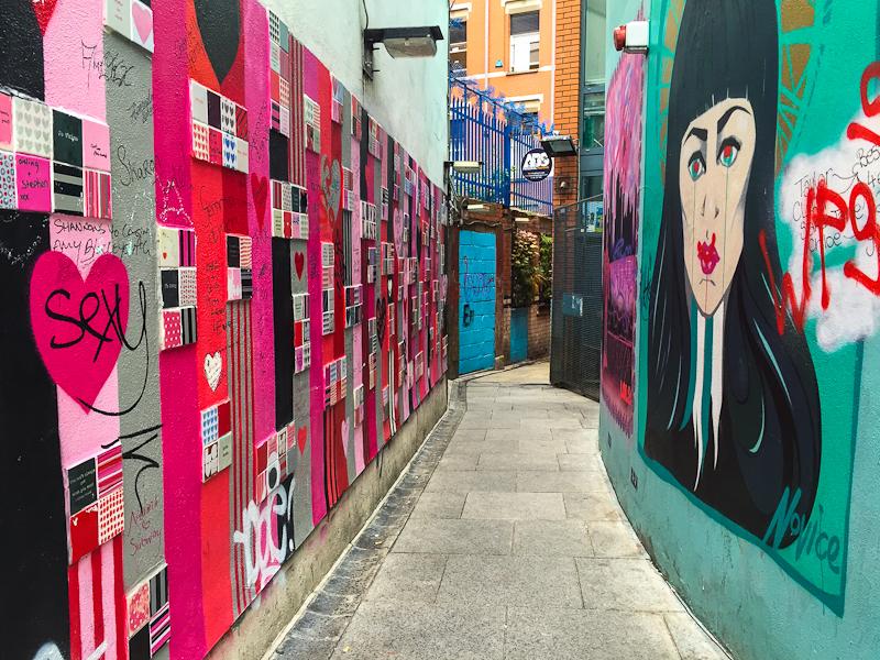 Love graffiti wall along temple barDublin Ireland