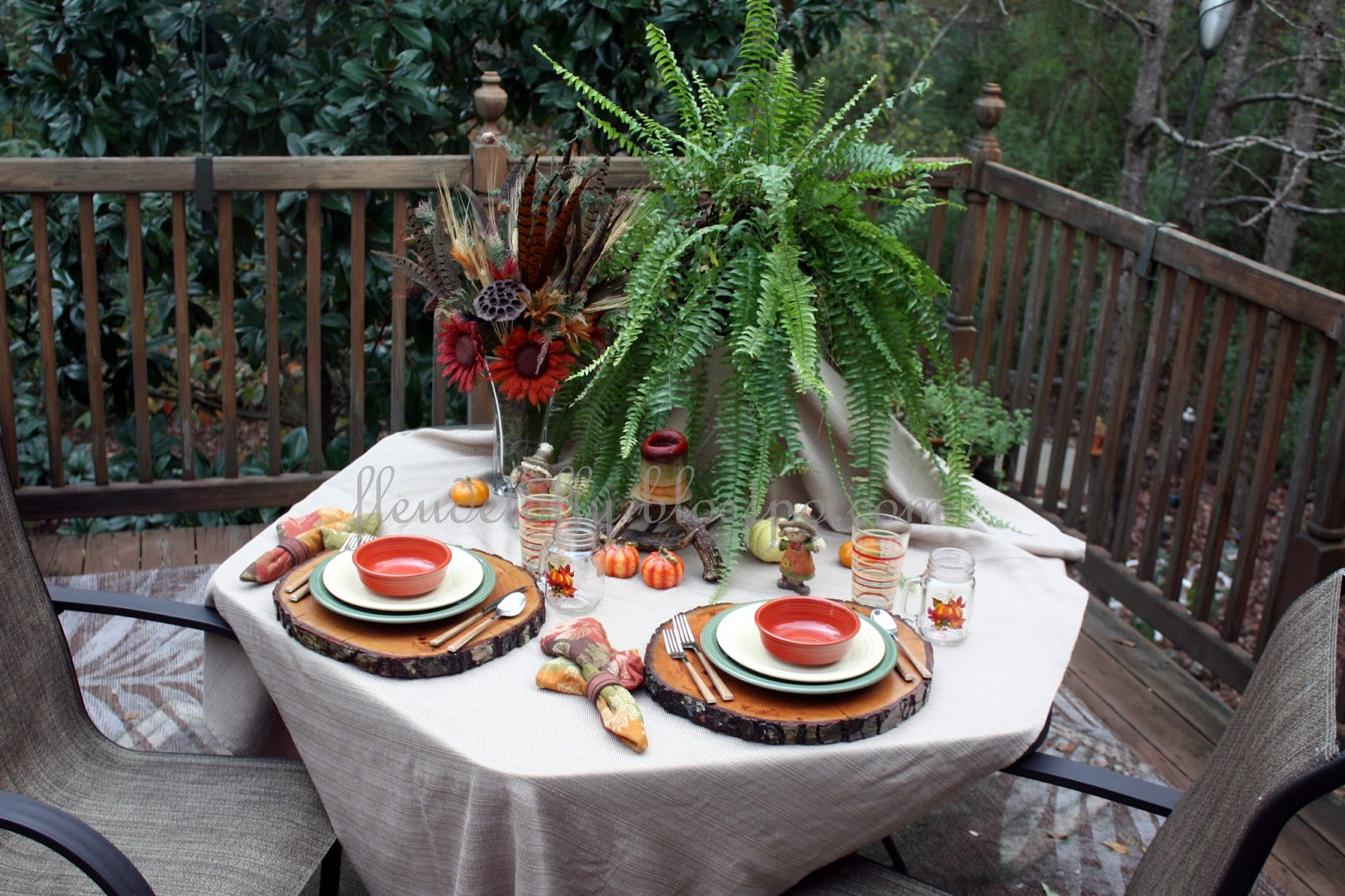 I thought you might enjoy a few pictures of our brunch table from this morning. A few weeks ago a friend shared a picture of a lovely table setting on a ... & Fleur de Lolly: Outdoor Autumn Brunch Table Setting