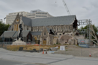 Damaged cathedral in Christchurch, New Zealand