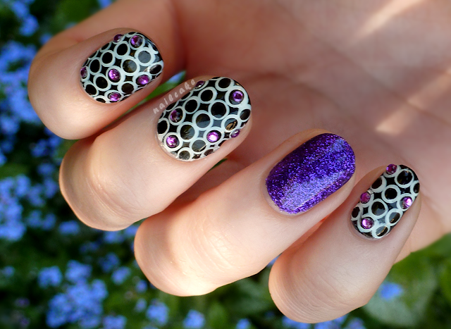 Violet Sparkle Rhinestone Nails