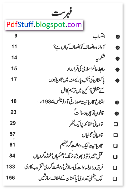 Contents of the Urdu book Qadiyaniat Ek DehshatGard Tanzeem