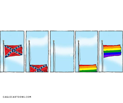 five panel strip showing confederate flag coming down and rainbow flag being raised