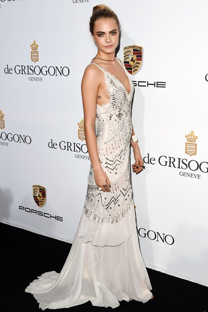 Cara Delevingne wore a dress by Roberto Cavalli at Cannes 2014