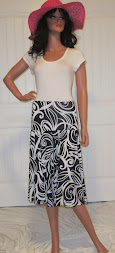 The Flirt in Black with white swirl, M/L