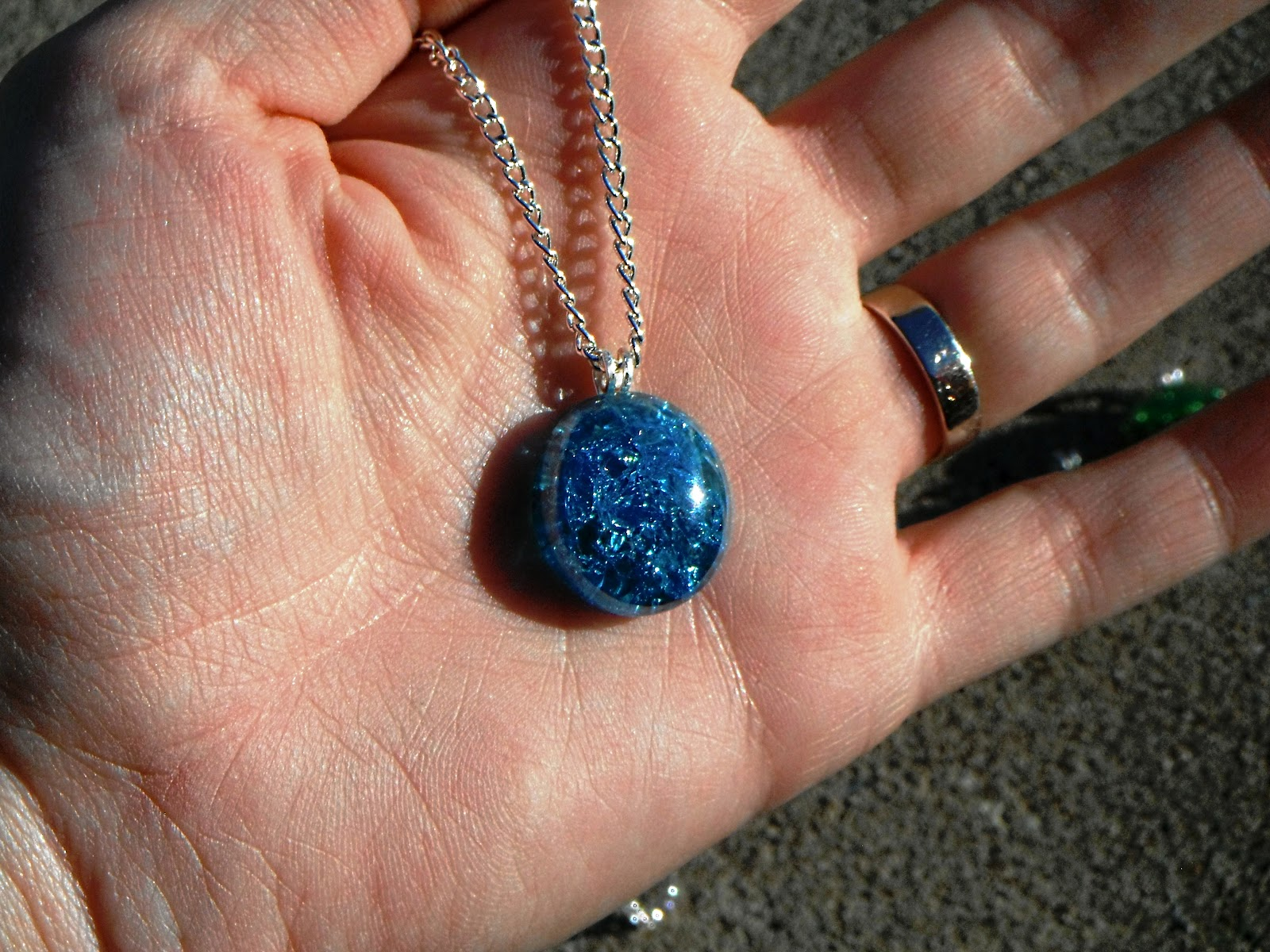 Flat glass marbles crafts - Flat Marble Necklaces