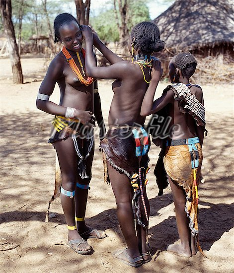 Tsemay girls in their traditional attire girls of the tsemay tribe of