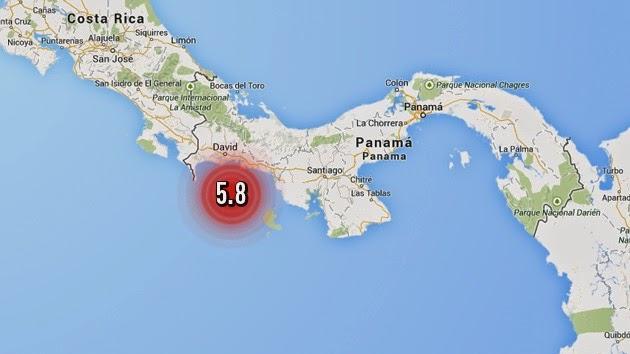 SISMO DE 5,8 GRADOS SACUDE ZONA DE FRONTERA ENTRE PANAMA Y COSTA RICA, 2 DE ABRIL 2014
