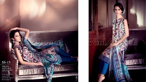 Gul Ahmed Trencia Satin Silk Collection'14