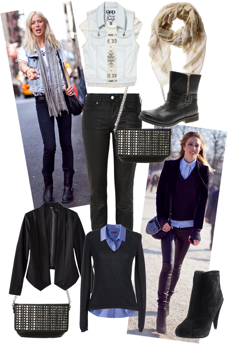raquel zimmermann, blue button down, black skinny jeans, studded cross body