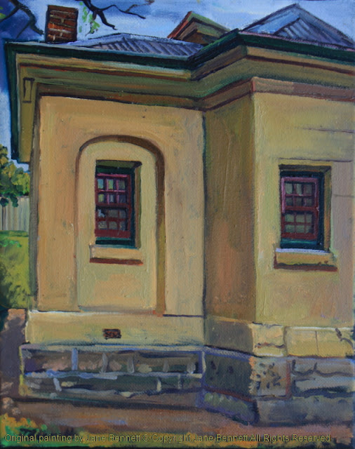 plein air oil painting of the heritage colonial architecture the Tollhouse painted by artist Jane Bennett