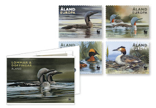 Åland Island: Loons and grebes in this year's stamp booklet